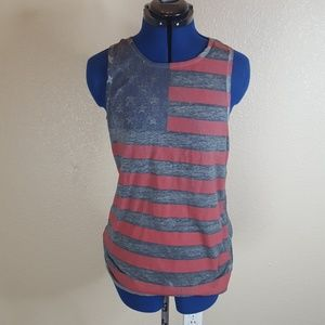 💎Mossimo Womens Distressed US Flag Tank S